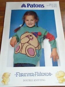 """Patons Forever Friends Double Knitting Pattern 24-30 """"Chest"""
