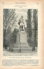 Statue de Antoine van Dyck Anvers par Léonard de Cuyper GRAVURE OLD PRINT 1877
