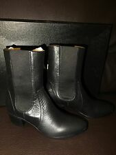 New $1.4k NIB CHANEL Runway Black Leather CC Mid-Calf Boots Booties 40 8.5 9 US