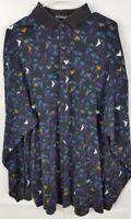Bachrach Polo Shirt XLT XL Men's Tall Long Sleeve black Multi Color geometric