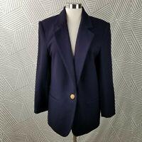 Vintage Sag Harbor 100% Wool Blazer Jacket size 12 boxy button coat career Navy