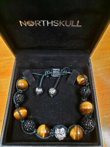 NIB North Skull Shamballa Genuine Tiger Eye Black CZ Skull Adjustable Bracelet