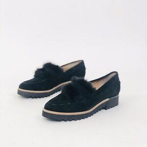 Franco Sarto Leather Black Fur Accent Almond Toe Loafer Flats 7/7.5M Women's
