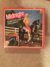 1981 Barbie Black Horse Midnight Arabian Pony w/Saddle Bridle & Box Vintage 80s