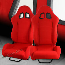 TYPE-1 Full Reclinable Red Cloth Red Stitching Racing Seat + Silder Universal 1