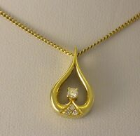 Kette & Diamant 0.15 ct. Anhänger   585er - 14 Karat Gelbgold