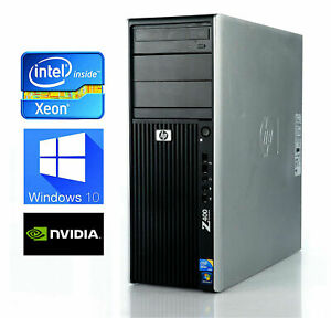 HP Z400 Xeon W3520 12GB DDR3 500GB HDD Gaming PC Win10 Two Graphics card !