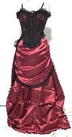 Victorian 3 Pcs Outfit With Swags & Tails And Boned Corset Size S M L