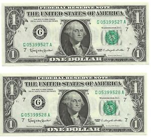 2 Crisp 1963 $1.00 Federal Reserve Notes In Sequence