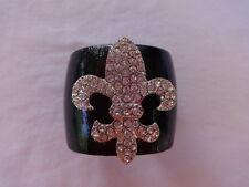 Lynne Curtin Designs Leather Cuff Bracelet with Swarovski Crystals Fleur De Lis