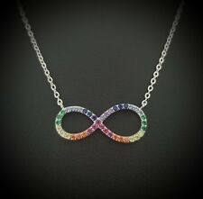 925 - Silver Multi Color Cz Crystals Infinity Love Charm Necklace