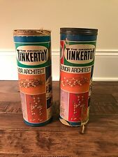 "(2) Vintage (Questor) ""Tinkertoy"" (Construction Sets) Cans Lot, No. 136, Rare!"