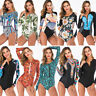Women Long Sleeve Padded One Piece Swimwear Beach Zipper Bikini Surfing Swimsuit