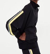 54cabf29 Zara Black Zipper Bomber Jacket With Side Stripes Size S