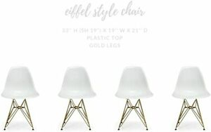 HOME CRAFT BRAND NEW CLEAR EIFFEL STYLE CHAIR WITH GOLD LEGS SET OF 4
