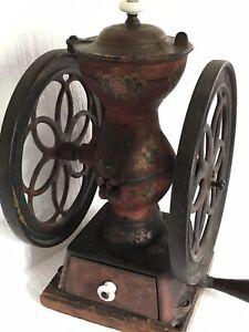 "Enterprise Double Wheel Coffee Grinder Mill Antique Table-top 8.75"" Wheels"