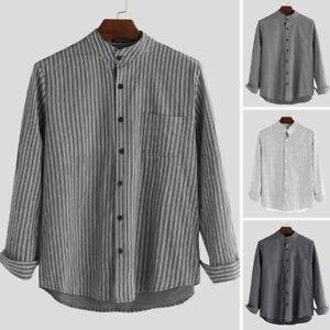 Mens Collarless Shirts Long Sleeve Striped Shirt Button Down Loose Grandad Tops