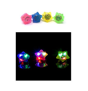 2 - 96 Star Flashing LED Bumpy Jelly Rings Light Up Finger Party Bag Wholesale