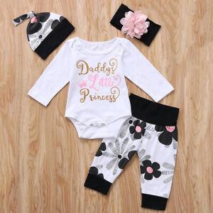 Newborn Baby Girls Romper Bodysuit Floral Pants Headband Hat Clothes Set Outfits