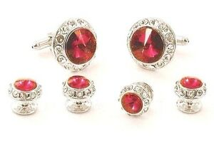 New Mens Christmas Red Cubic Zirconia Cuff Links Studs Boxed Set Top Quality