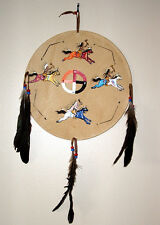 """Authentic Native American Artwork on 12"""" diameter Leather Shield War Ponies"""