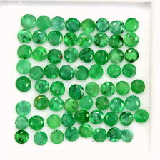 Natural Emerald Round Cut 2 mm Lot 23 Pcs 1.06 Cts Rich Green Loose Gemstones