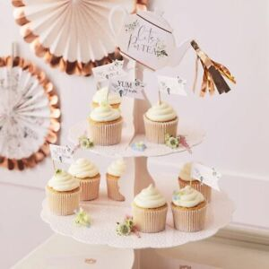 2 Tiered Rose Gold Foiled Spotty Afternoon Tea Cupcake Stand 36cm x 34.5cm