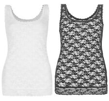 Marks & Spencer Womens New Lace Vest M&S Sleeveless Camisole White Black Top