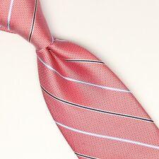 NEW Bloomingdales Silk Necktie Red Silver Blue Stripe Weave Woven Tie Defect