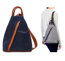 Neues AngebotDamen Handtasche Schultertasche Rucksack navy/tan Italienisches Leder Vera Pelle