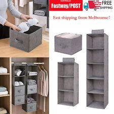 Stackable Wardrobe Storage DIY Hanging Closet Organizer Clothes Shelf Rack AU