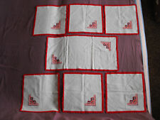 #1495 Beautiful Vintage Table Runner and 6 Napkins  65cm/32cm(25.5''x12.5'')