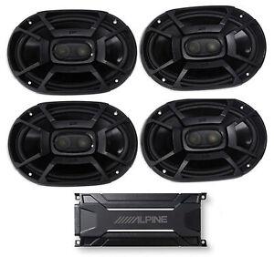 """ALPINE KTA-30FW 600 Watt 4-Channel Amplifier Amp+(4) Polk Audio 6x9"""" Speakers"""