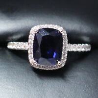 Sparkling Princess Blue Sapphire Ring Women Engagement Jewelry 14K Gold Plated