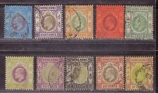 1904 British colony stamps, Hong Kong KEVII 2c to $1 used MCCA SG 77-86