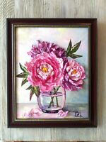 Pink Peonies Framed Original Textured oil painting Floral still life #04-216