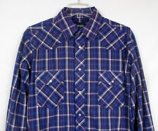 Mens LARGE Wrangler Shirt L/S Pearl Snap Rodeo Purple Plaid Check Western