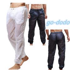 Mens Ultra-Thin See Through Beach Long Pants Summer Gym Drawstring Loose Trouser