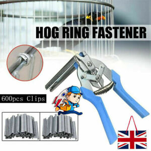 Hog Ring Plier & 600x M Clips Jaws Tool Staples Chicken Mesh Wire Cage UK