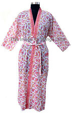 Indian Hand Block Print Robes Cotton Beach Wear Gown Dress Sleepwear Kimono Pink