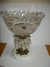 Cut Glass Bowl  Compote  Brass Pedestal  accents Marble Base, Prisms.  Crystal
