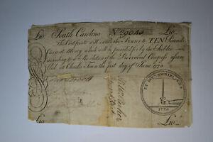 South Carolina June 1, 1775 £10 Very Good-Fine.