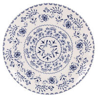 6X BLUR round Dessert plates  20cm white / blue vintage stoneware dinner plates