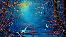 """silhouette, forest, animals, art, river  CANVAS WALL ART """"20X30"""""""