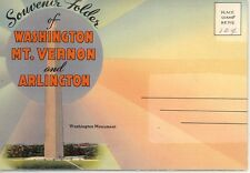 511-C Linen-era postcard folder of Washington D C + Mt Vernon + Arlington