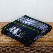 Pure laine vierge tartan check blanket throw picnic tapis robe gordon british green