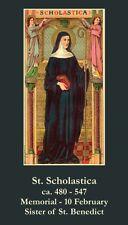 St Scholastica Prayer CARD (wallet size)
