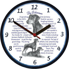 Doberman Pinscher Large Wall Clock - Dog Breed Origins Animal Facts