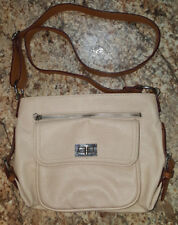 Jessica Simpson Faux Leather Shoulder Bag Handbag Purse Cream Beige Brown