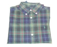 Polo by Ralph Lauren Boys Oxford Long Sleeve Plaid Shirt Green & Blue 3/3T NWT